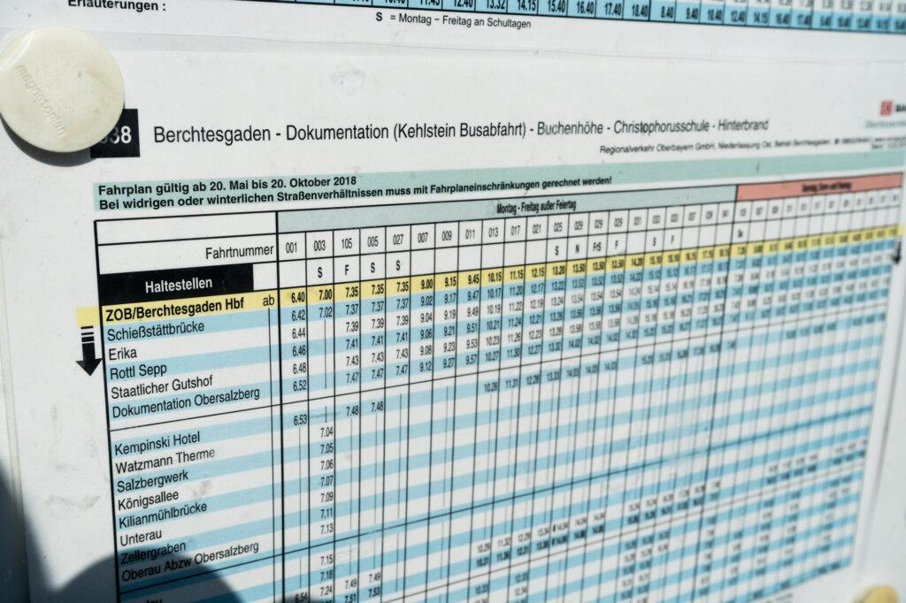 Bus schedule at Berchtesgaden train station