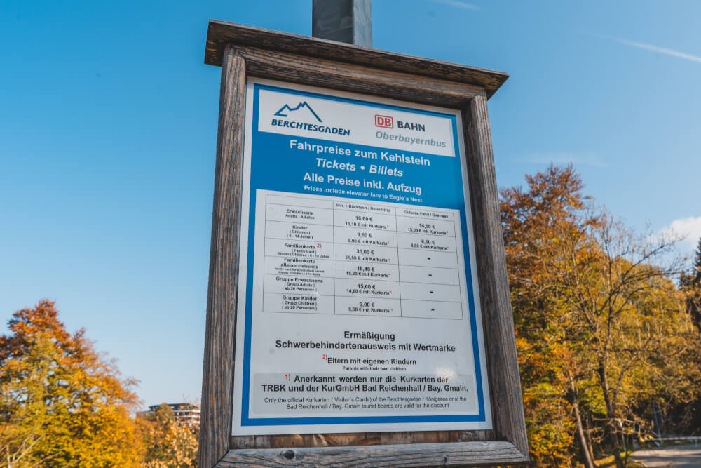 Eagle's Nest bus ticket prices, October 2018