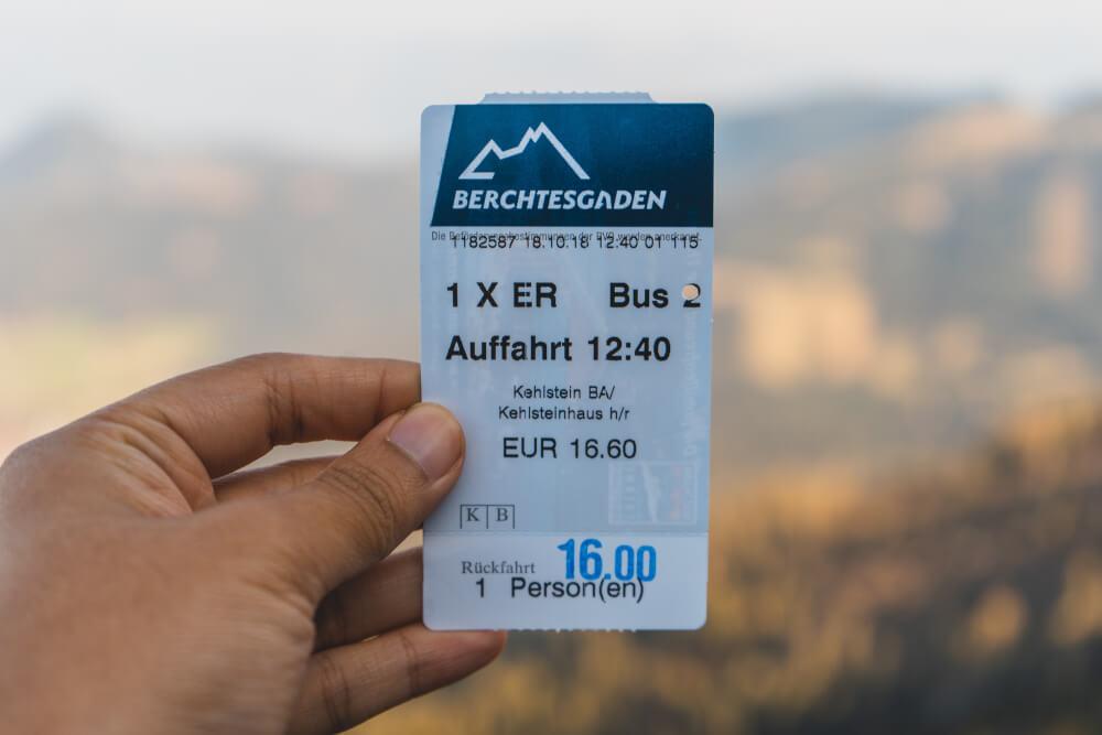 Eagle's Nest bus ticket in Berchtesgaden, Germany