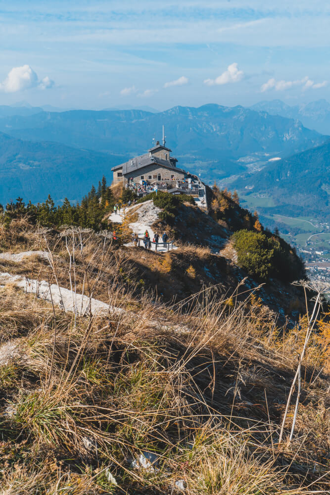 View of Eagle's Nest (Kehlsteinhaus) in Berchtesgaden with mountains in the background