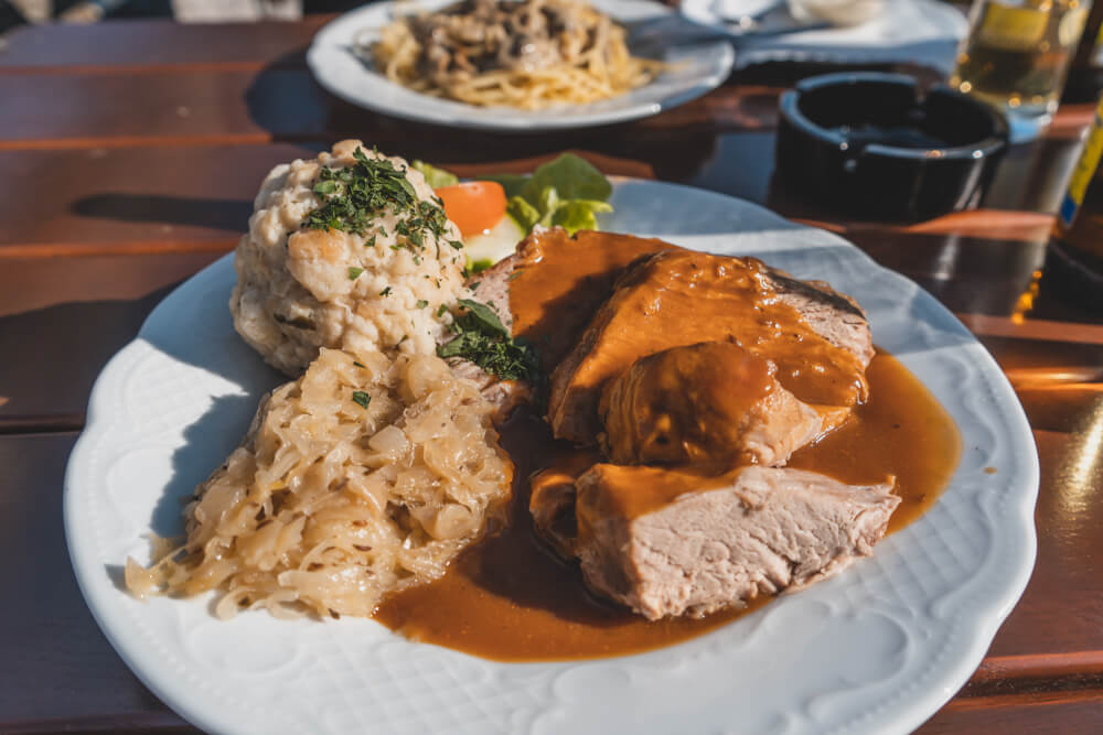 Delicious Bavarian food at the Eagle's Nest beer garden