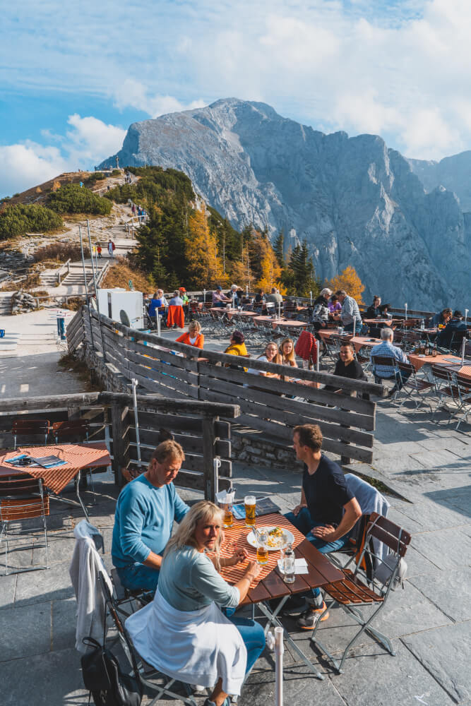 Beer garden in the mountains at Eagle's Nest in Berchtesgaden