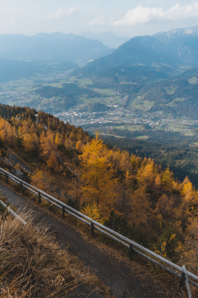 View over Berchtesgaden with mountains and fall foliage
