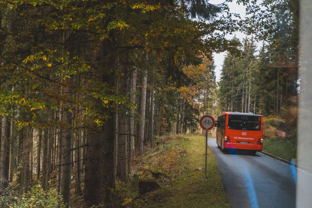 Red buses at Eagle's Nest in Berchtesgaden, Germany