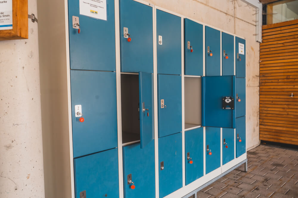 Lockers at the Eagle's Nest bus stop in Berchtesgaden, Germany