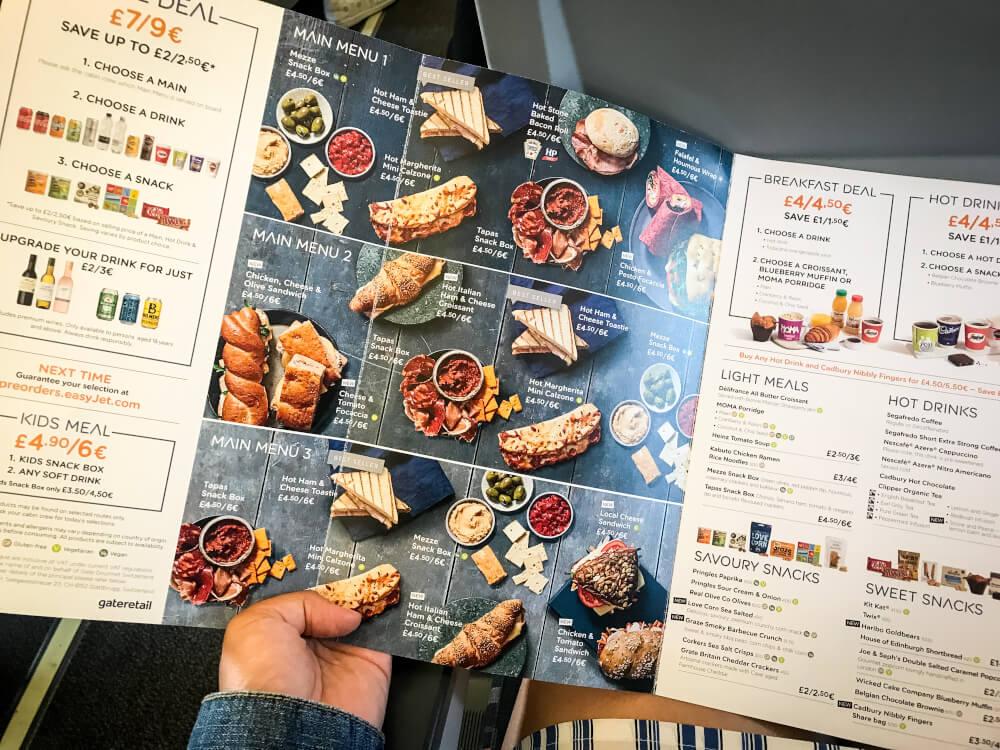 easyJet bistro menu