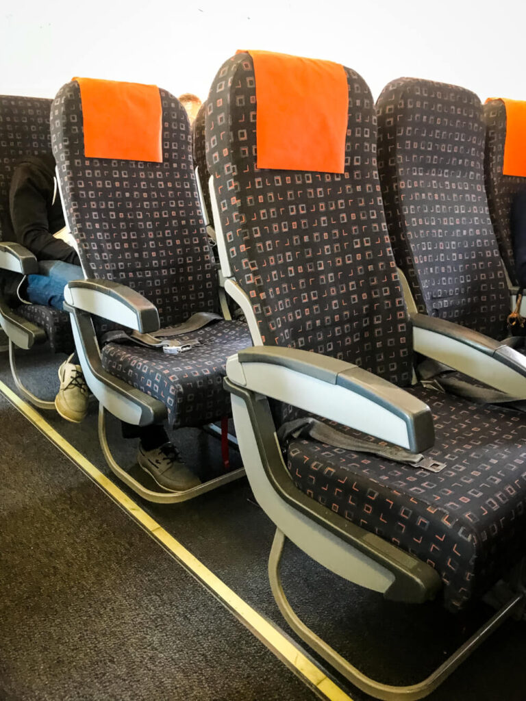 Close up of seats on an easyJet flight