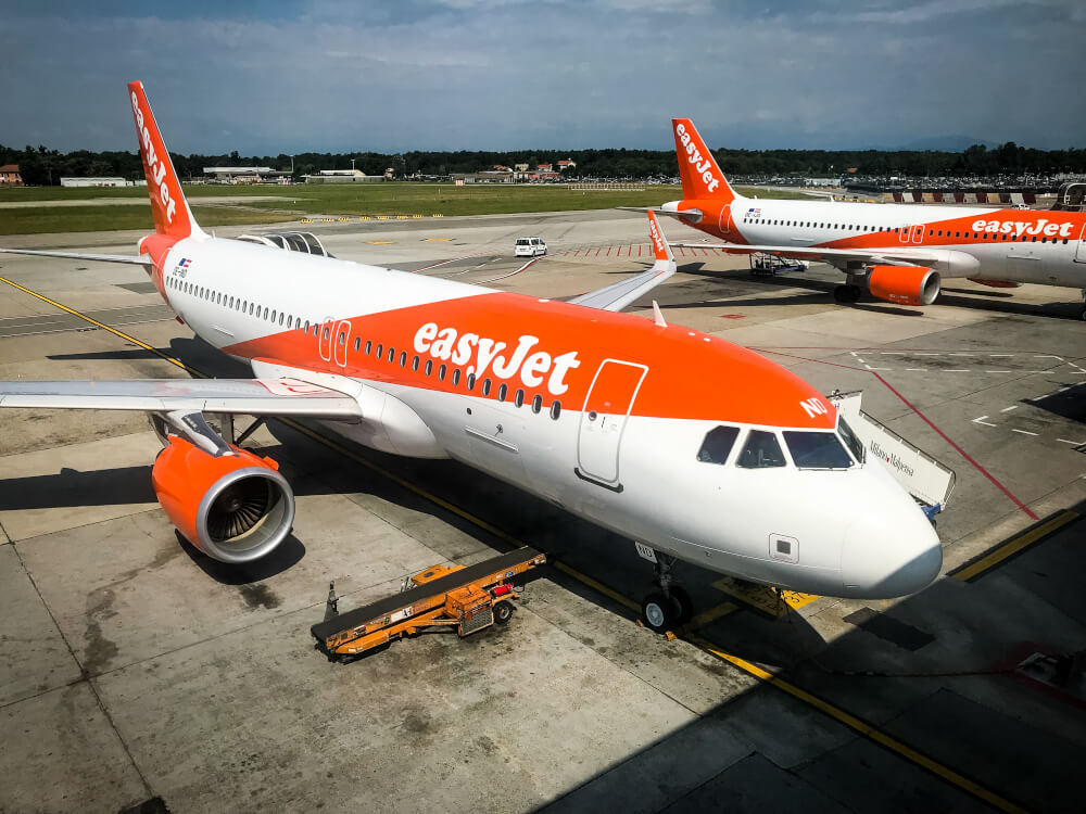 easyJet plane at the airport
