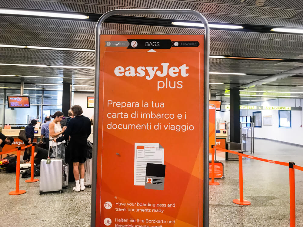 easyJet plus sign at Milan Malpensa Airport