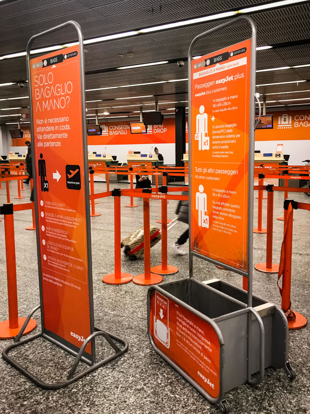 easyJet hand luggage measuring stations at an airport
