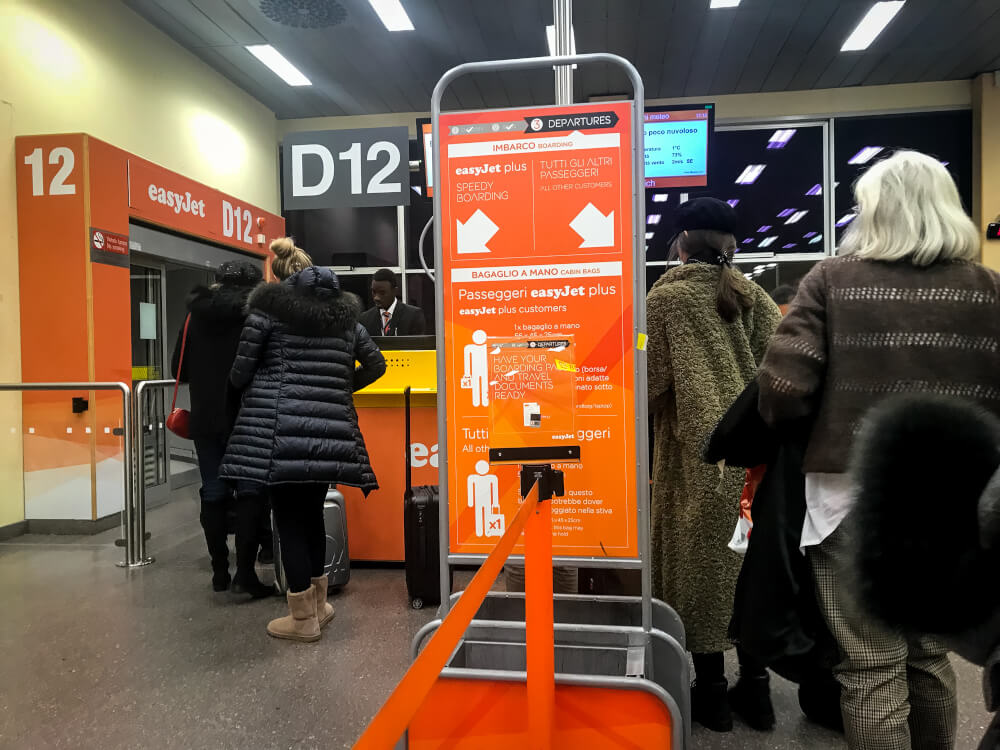 easyJet boarding process at Milan Malpensa airport