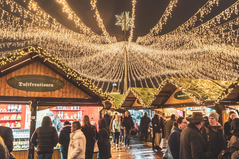 Essen Christmas market stalls in Kennedyplatz