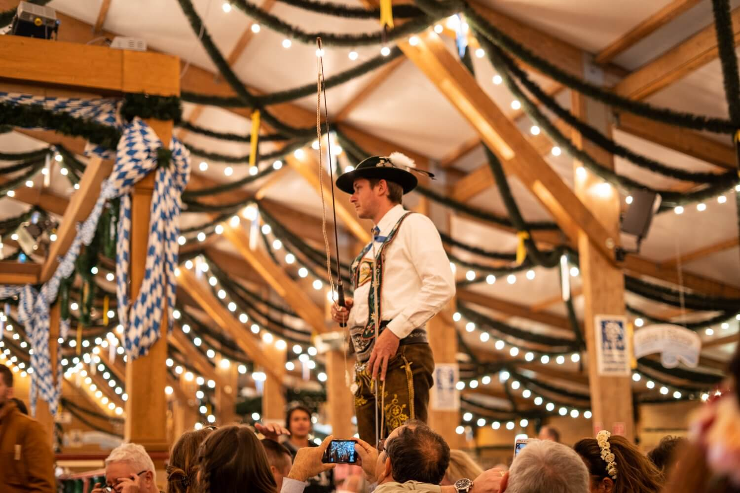 Whipcracking at Oktoberfest in Munich, Germany