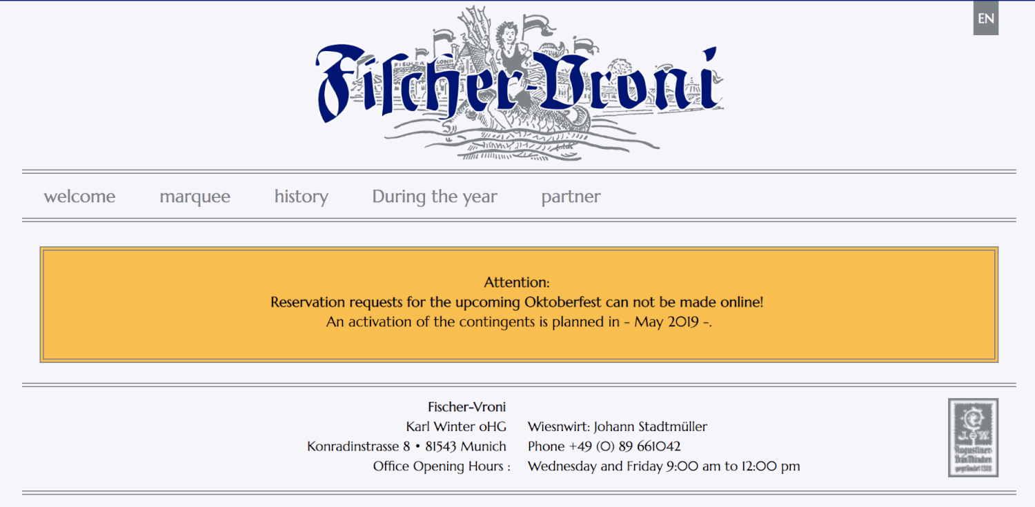 Fischer Vroni reservation page (translated into English) for Oktoberfest