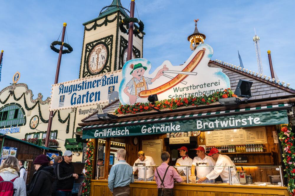 Tasty German sausages being served at Oktoberfest in Munich, Germany.