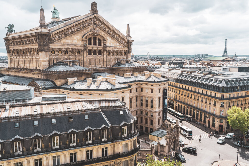 View over Paris from the Galeries Lafayette rooftop
