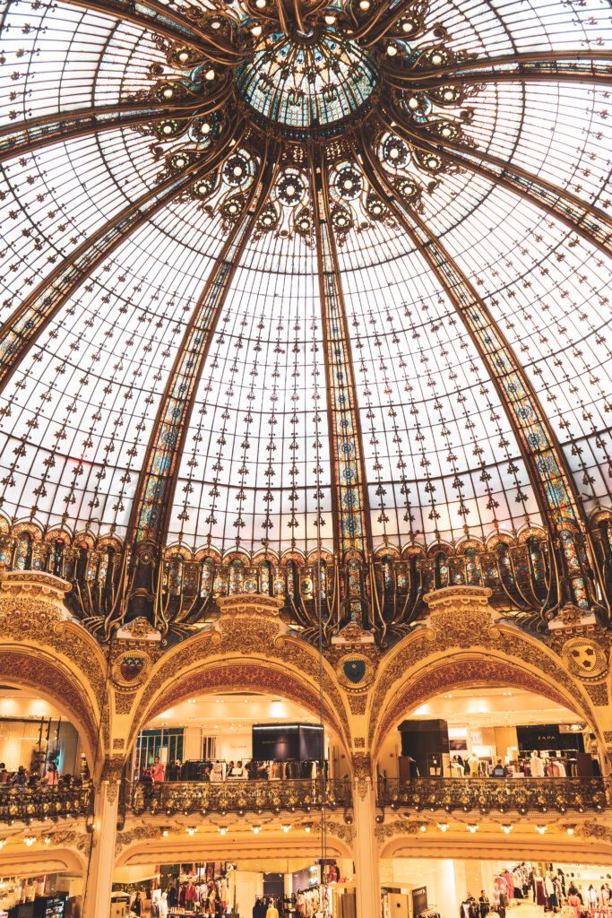 Interior glass dome at Galeries Lafayette in Paris, France