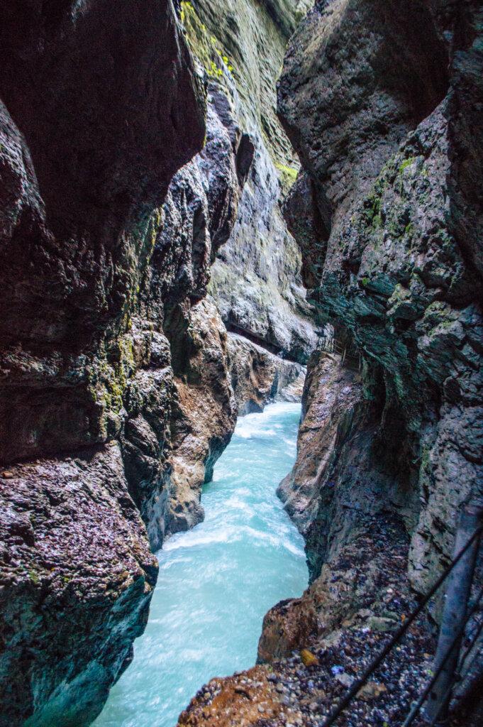 Gorgeous blue water at the Partnach Gorge in Garmisch-Partenkirchen, Germany