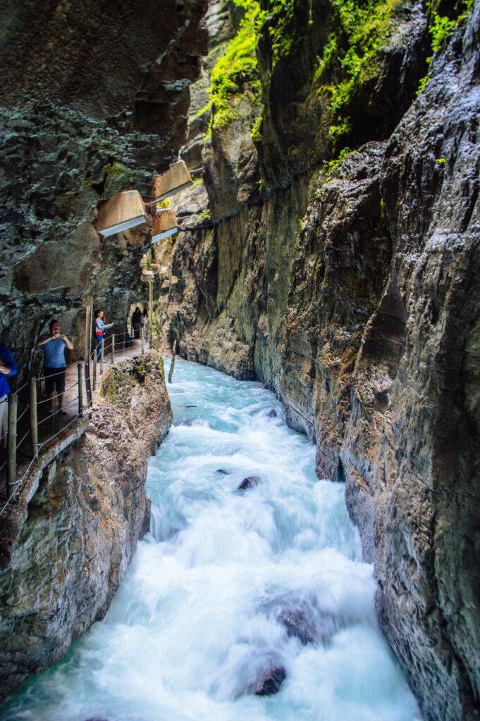 Rushing water at the Partnach Gorge in Garmisch-Partenkirchen, Germany