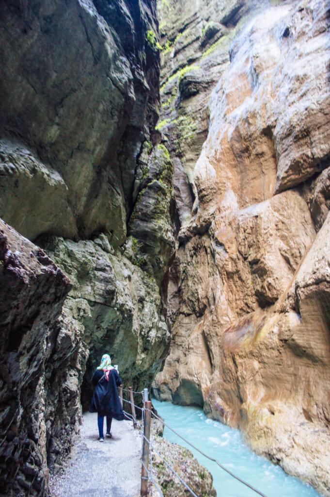 Rocky gorge at the Partnach Gorge in Garmisch-Partenkirchen, Germany