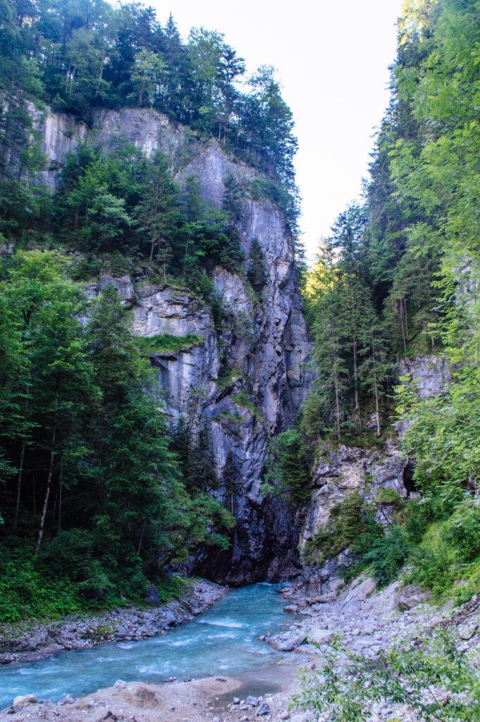River view at the Partnach Gorge in Garmisch-Partenkirchen, Germany
