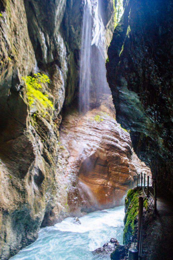 Waterfall at the Partnach Gorge in Garmisch-Partenkirchen, Germany