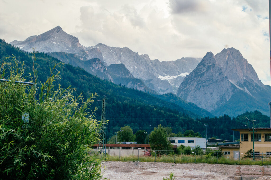Mountain view at Garmisch-Partnkirchen train station