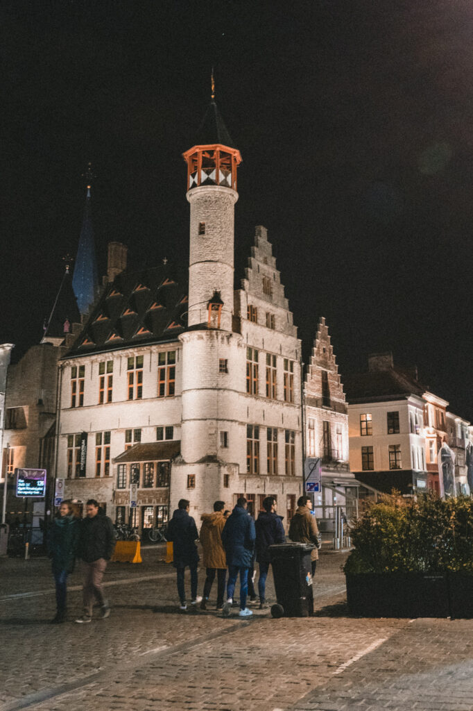 Historical centre of ghent by night