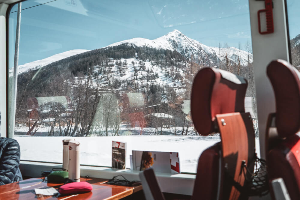 1st class Swiss train carriage on board the Glacier Express