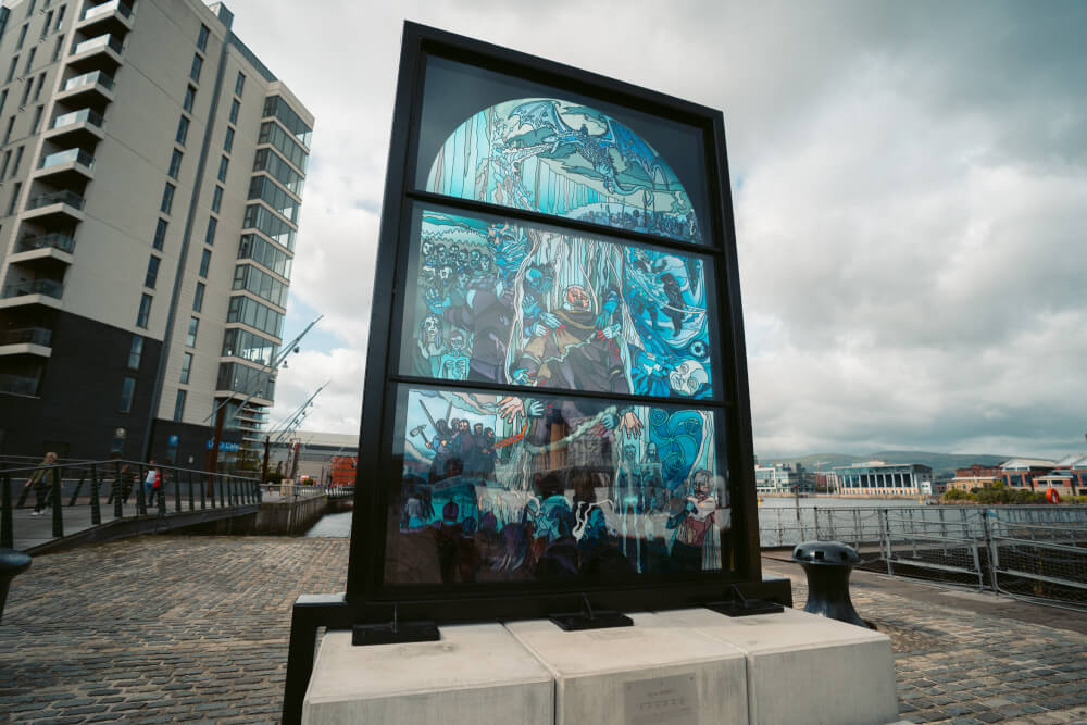 The White Walker Window, part of the Glass of Thrones trail in Belfast, Northern Ireland.