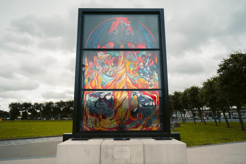 The Targaeryen Window, part of the Glass of Thrones trail in Belfast, Northern Ireland.