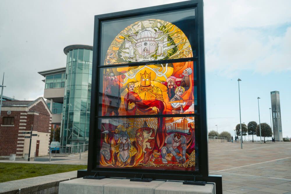 The Lannister Window, part of the Glass of Thrones trail in Belfast, Northern Ireland.