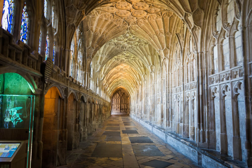 Cloisters at Gloucester Cathedral in Gloucester, Gloucestershire, England
