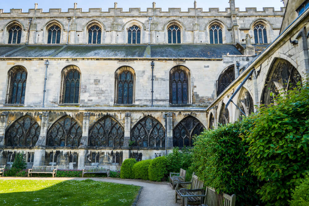 Courtyard of Gloucester Cathedral in Gloucester, Gloucestershire, England