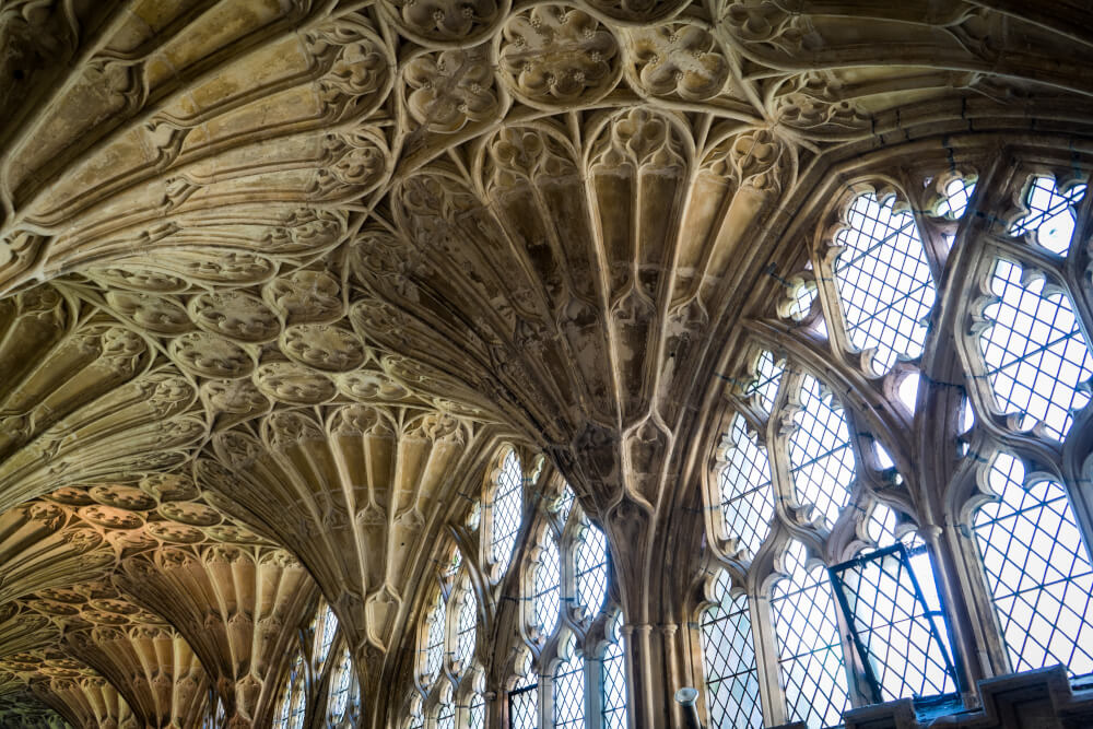 Details at Gloucester Cathedral in Gloucester, Gloucestershire, England