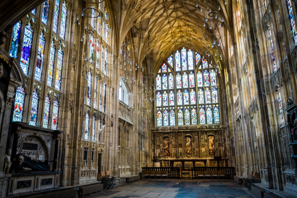 Inside Gloucester Cathedral in Gloucester, Gloucestershire, England