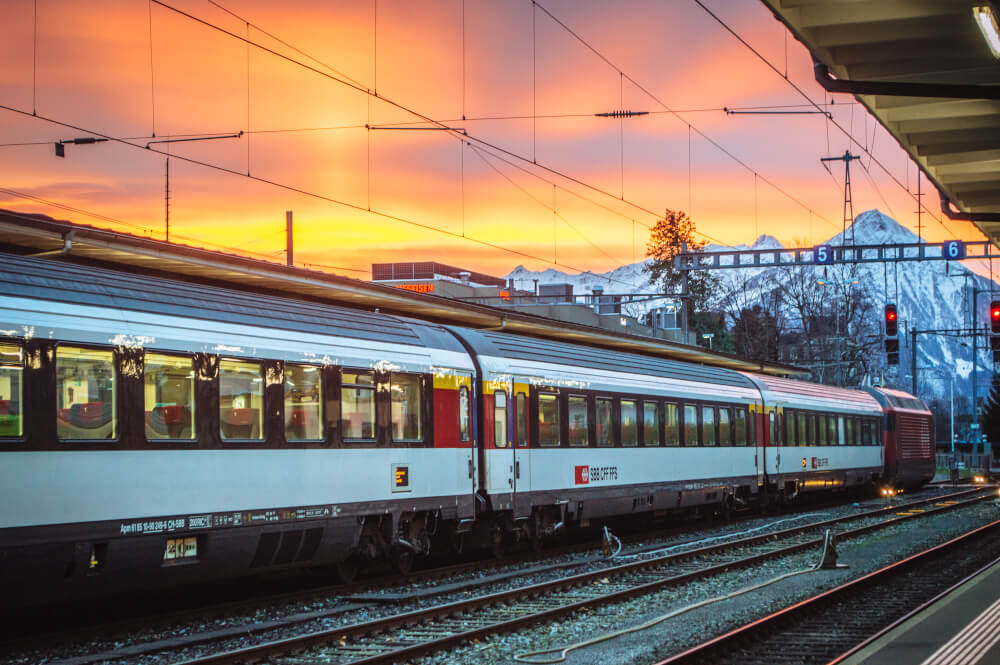 Swiss train at sunset