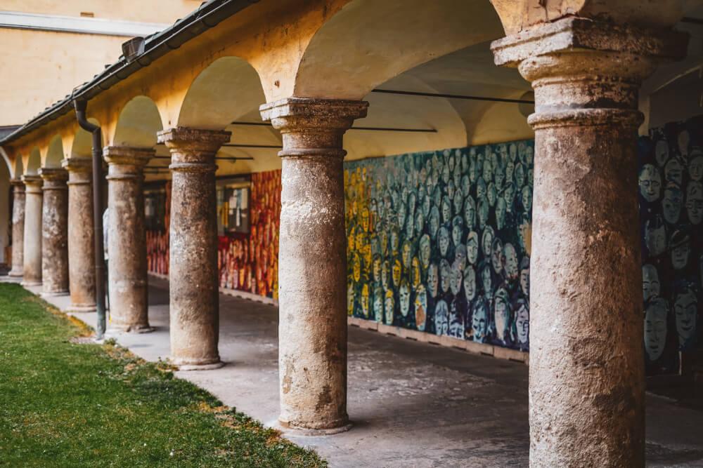 A beautiful little mural in the Mariahilfkirche Courtyard in Graz, Austria