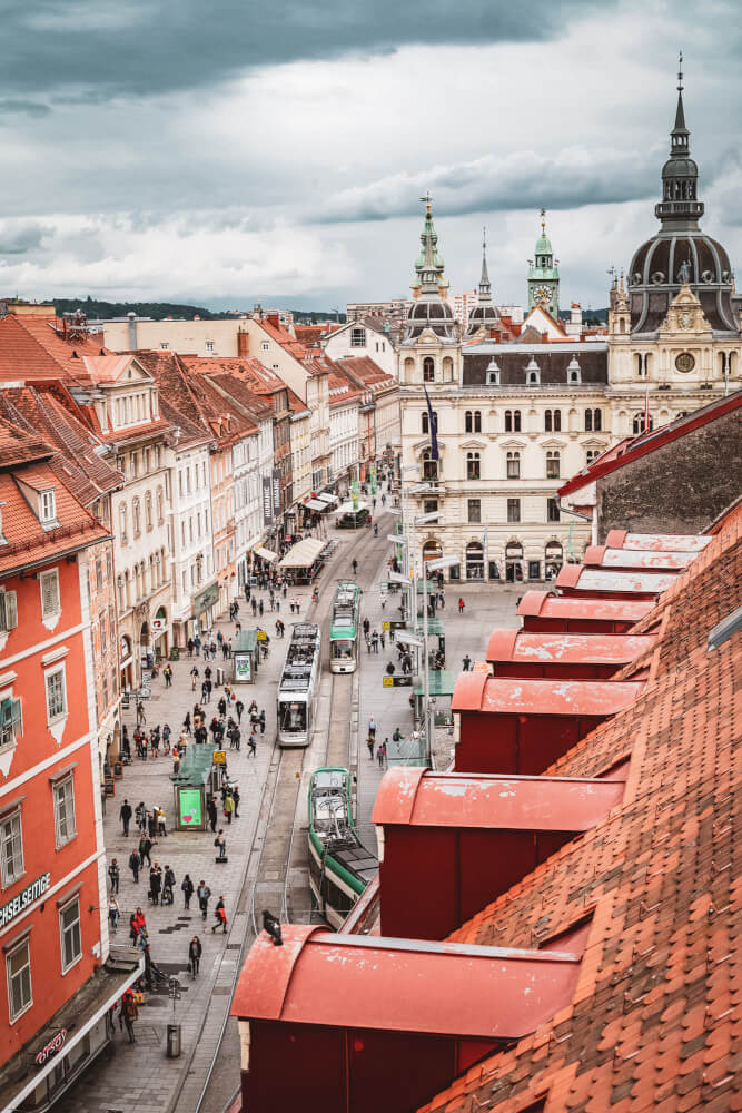 Rooftop view from K&O Department Store in Graz, Austria