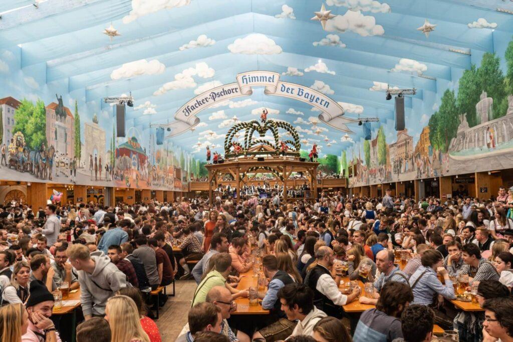 Inside the Hacker Pschorr tent at Oktoberfest in Munich, Germany.