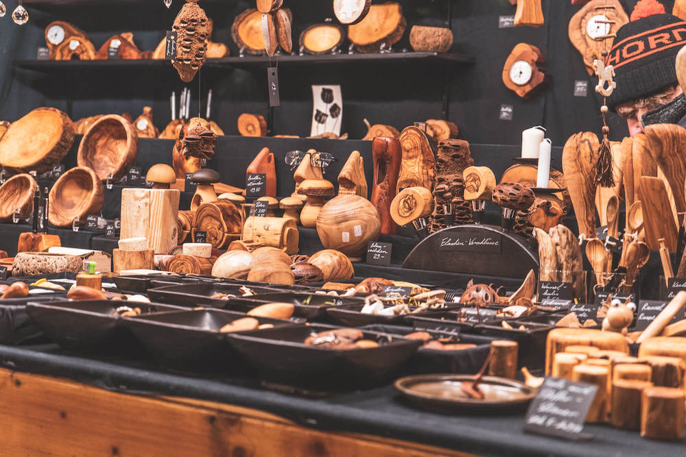 Wooden products at German Christmas Market