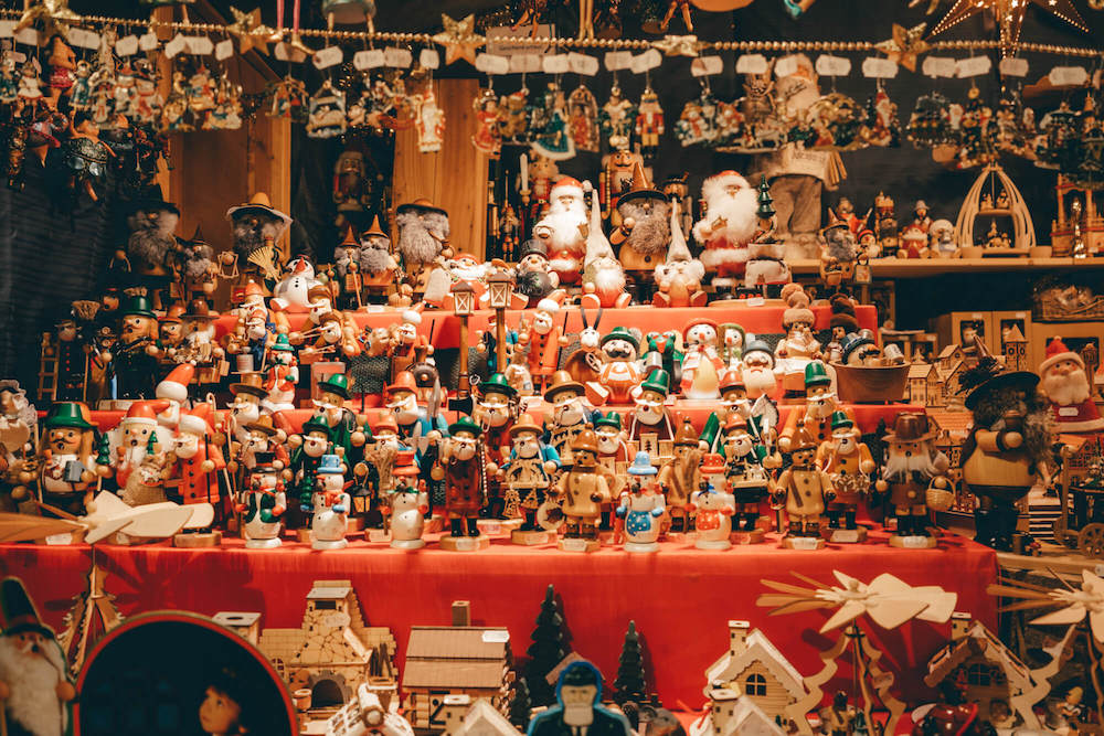Wooden ornaments and toys at a German Christmas Market