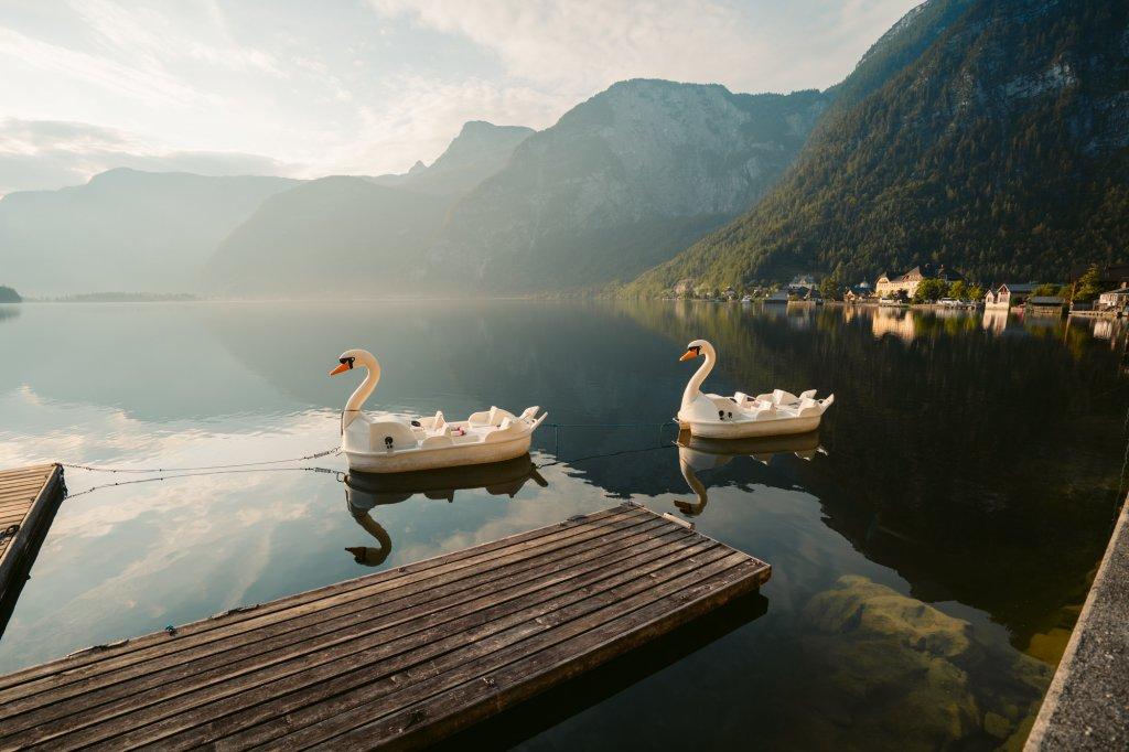Swan boats along a peaceful lake in Hallstatt, Austria.
