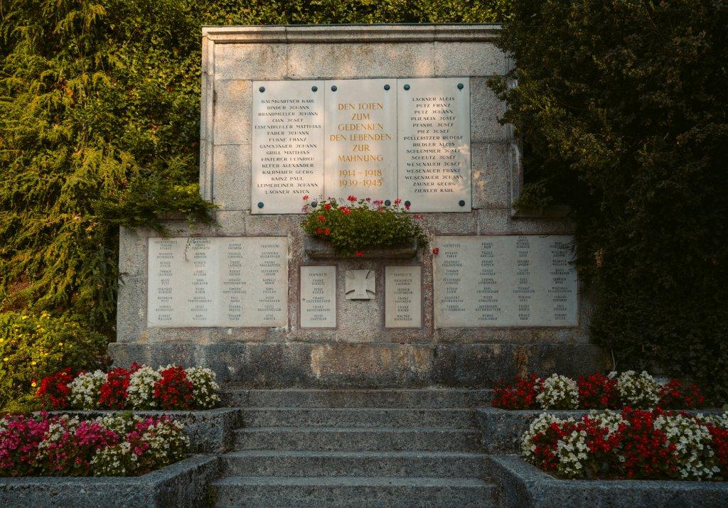 Memorial to victims of World War I and World War II in Hallstatt, Austria.