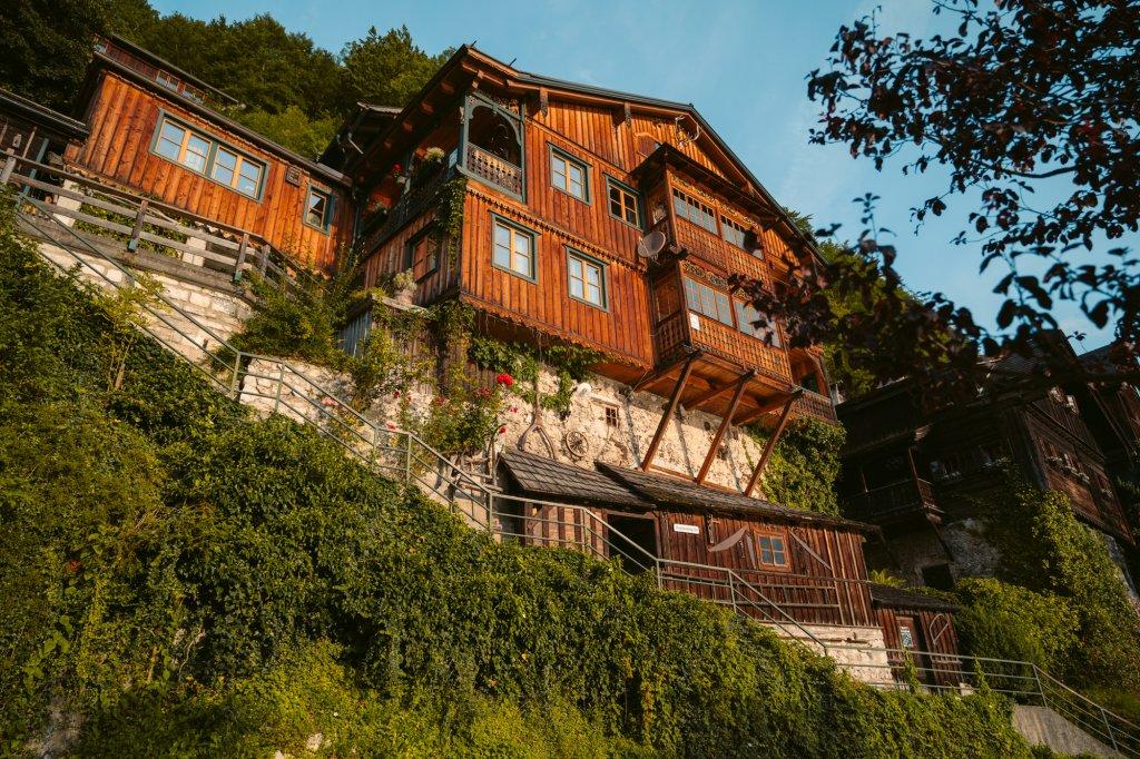 Beautiful wooden houses in Hallstatt, Austria along the lake.