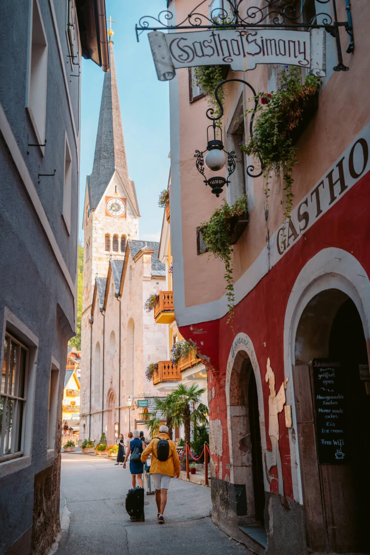 A beautiful walkway in Hallstatt, Austria leading to the Evangelical Church and Marktplatz.