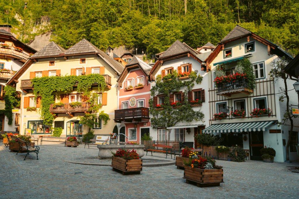 Gorgeous houses in Hallstatt, Austria in the central square Marktplatz.