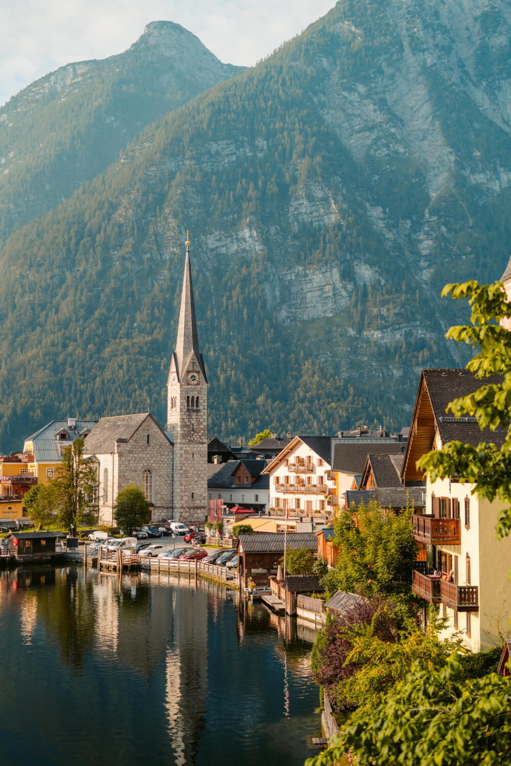 A view of the Hallstatt, Austria skyline from a famous panoramic viewpoint.