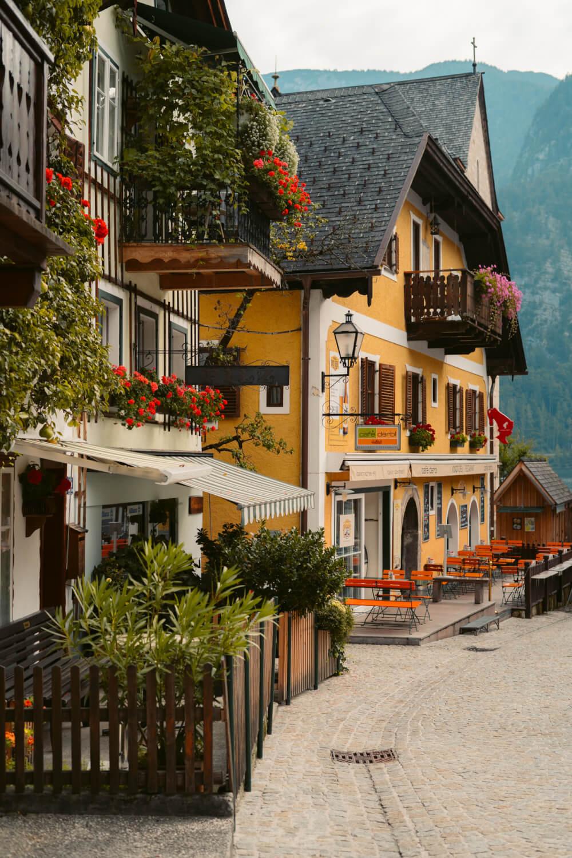 Houses in Marktplatz in Hallstatt, Austria.