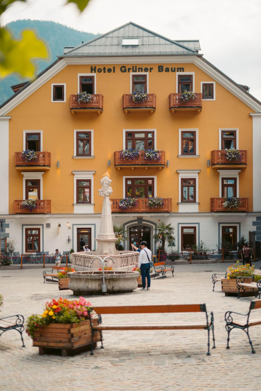 Hotel Grüner Baum in the main square (Marktplatz) of Hallstatt Austria.